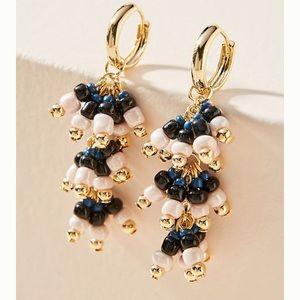 Anthro Amalia Huggie Hoop Earrings - Navy